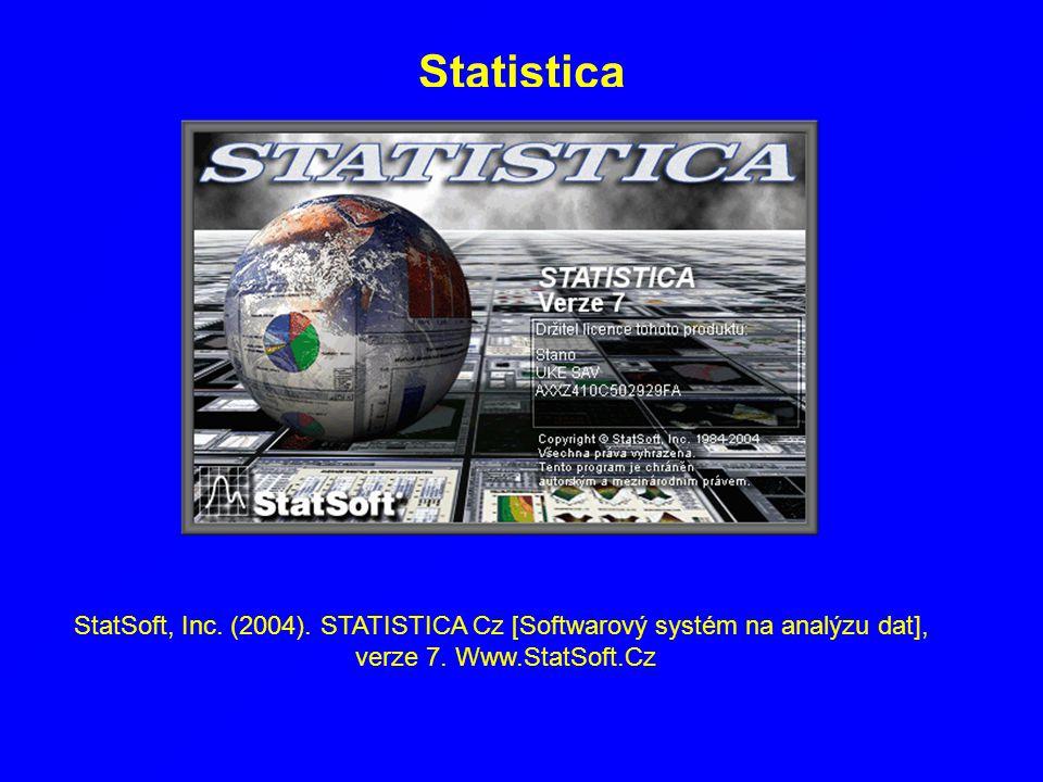 Statistica StatSoft, Inc. (2004). STATISTICA Cz [Softwarový systém na analýzu dat], verze 7.
